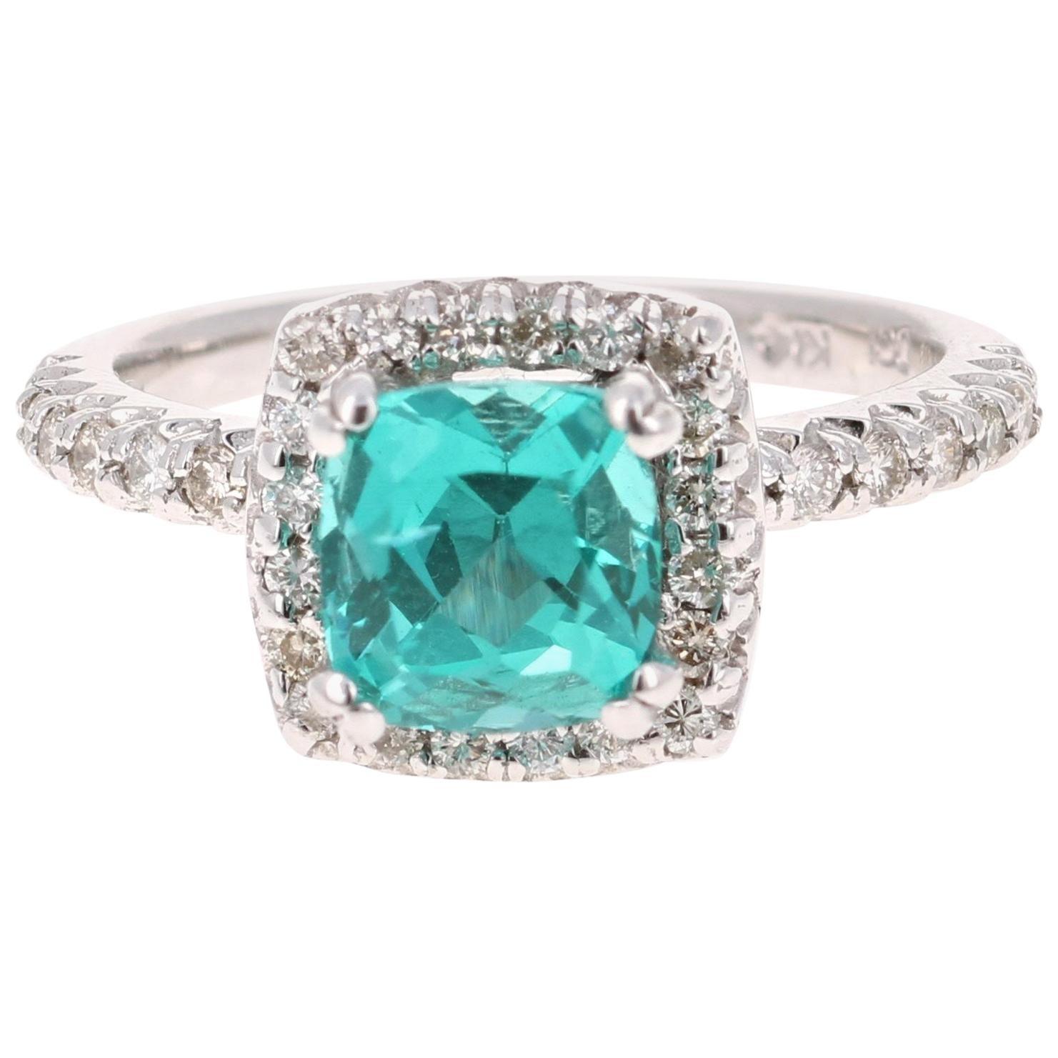 2.76 Carat Apatite Diamond Ring 14 Karat White Gold Ring