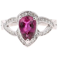 1.70 Carat Pink Tourmaline Diamond 14 Karat White Gold Ring