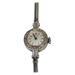 Art Deco Platinum Ladies Vertex Round Rose Cut Diamond Encrusted