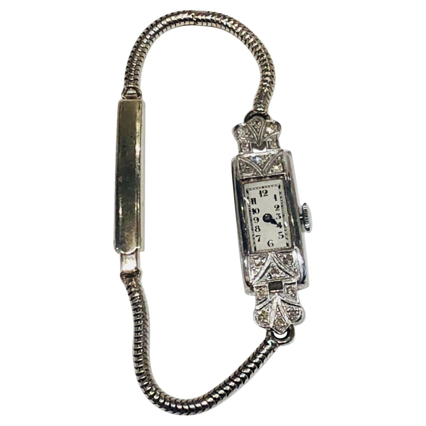 Art Deco Diamond Encrusted Cocktail Wrist Watch, Platinum