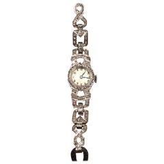 Art Deco Diamond and 18 Karat White Gold Cocktail Wristwatch