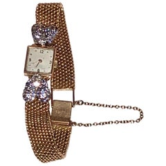 Vintager Square Face 18k Gold and Diamond and Ceylon Sapphire Ladys Wrist Watch