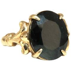 16.50 Carat Natural Black Sapphire Ring 14 Karat Spanish Gilt