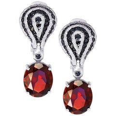 Garnet Spinel Gold Drop Textured Earrings One of a Kind