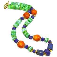 Decadent Jewels Lapis Lazuli Orange Coral Turquoise Magnacite Gold Necklace
