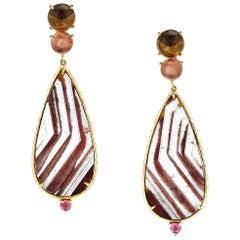 Daria de Koning Lodolite Quartz, Smokey Citrine, Pink Sunstone Earrings