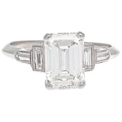 Art Deco GIA 2.02 Carat Emerald Cut Diamond Platinum Engagement Ring
