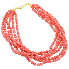 Decadent Jewels Coral Toursade Gold Necklace