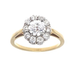 Victorian 0.94 Carat GIA Diamond Gold and Silver Engagement Ring