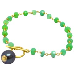 Decadent Jewels Chrysophase Tahitian Pearl Gold Bracelet
