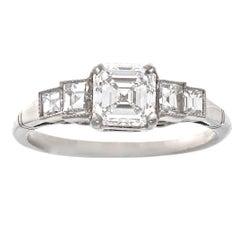 Art Deco GIA 1.03 Carat Diamond Platinum Engagement Ring