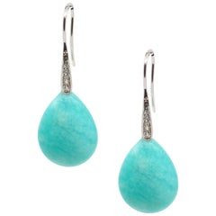 Decadent Jewels Peruvian Amazonite Sterling Silver CZ Earrings