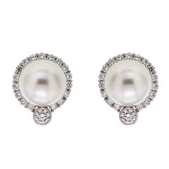 Valentin Magro South Sea Pearl Diamond Platinum Earrings