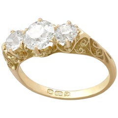 Antique 2.16 Carat Diamond Yellow Gold Three-Stone Ring