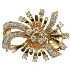 Diamond Brooch, Enhancer, Pendant 18 Karat Gold, in Floral Design