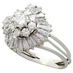 2.10 Carat Diamond White Gold Cluster Ring