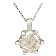 1.55 Carat Diamond Platinum Solitaire Pendant, Antique and Contemporary