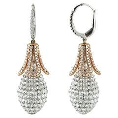 Studio Rêves Tulip Pineapple Drop Earrings in 18 Karat Gold