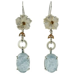 Diamonds, Topazes, Mother of Pearl, Aquamarine White and Rose Gold Drop Earrings