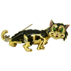 Ben Rosenfeld, 14 Karat Gold Cat Brooch with Enamel and Diamonds, London, 1967