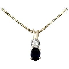 Sapphire Diamond White Gold Pendant Vintage, circa 1950