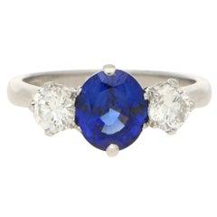 2.41 Carat Sapphire 0.71 Carat Diamond Three-Stone Engagement Ring