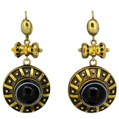Antique Victorian Ladies 15 Karat Gold Earrings with Natural Agate, 1880