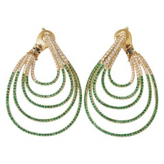 18 Karat Yellow Gold White Diamonds Emeralds Earrings Aenea Jewellery