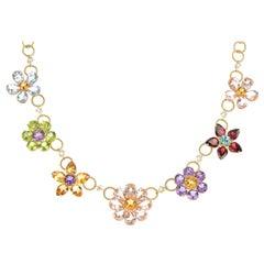 Dolce & Gabbana Gold and Multi Gem Set Floral Necklace