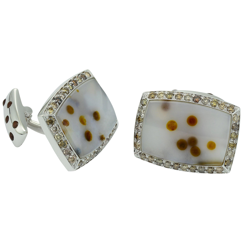 Brown Diamond Agate White Gold Cufflinks