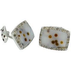 Brown Diamond Agate White Gold Cufflinks