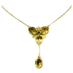 Victorian 15k gold ladies necklace with natural citrine and emerald, Circa 1880
