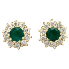 1970s Emerald and Diamond Yellow Gold Stud Earrings