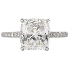 J. Birnbach GIA Certified 3.00 Carat F VS1 Cushion Diamond Ring
