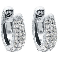 Platinum Diamond Hoop Earrings with Pin & clip on fittings