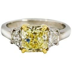 3.52 Carat Platinum Fancy Yellow Diamond Engagement Ring