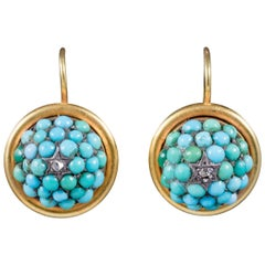 Antique Victorian Turquoise Diamond Earrings 15 Carat Gold, circa 1880