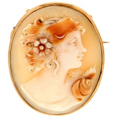 Cameo 14 Karat Yellow Gold Brooch