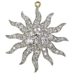 Platinum 8.68 Carat Old European Cut Diamonds Convertible Pendant / Brooch
