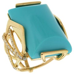 Valentin Magro Large Special Cut Turquoise and Diamond Solitaire Ring