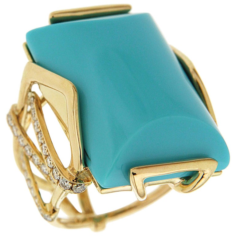 Valentin Magro Large Special Cut Turquoise and Diamond Solitaire Ring For Sale