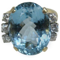 13 + Carat Oval Aquamarine Diamond 14 Karat Gold Ring GIA Certified