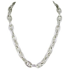 Vintage Hermes Link Silver Necklace/Bracelet, France, 1990s