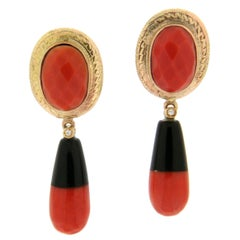 Coral and Onyx 14 Karat Yellow Gold Diamonds Drop Earrings
