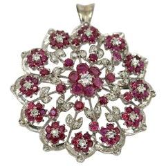 Diamond and Ruby Brooch, Pendant, Enhancer, 18 Karat White Gold, Flower Design