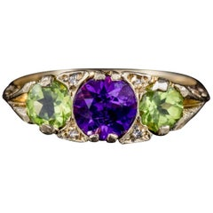 Antique Suffragette Peridot Amethyst Diamond Ring Victorian Dated 1902