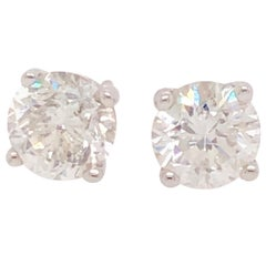 2.60 Carat Round Cut Diamond and White Gold Diamond Stud Earrings