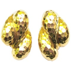 Henry Dunay 18 Karat Yellow Faceted Gold Earrings
