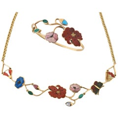 Vintage Gucci Necklace and Bracelet, Pietra Dura Jewelry, circa 1970