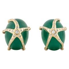 Ron McNamer Chrysoprase Earrings with Diamonds